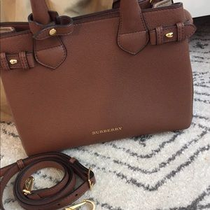 Burberry Bags - Burberry Banner Handbag Cognac Leather Small